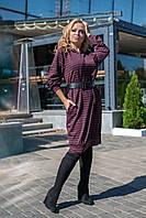 Женское платье-туника из ангоры, капюшон, длинный рукав и небольшой боковой разрез (50-56)