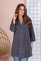 Удлинённая блуза-туника женская из хлопка с рубашечным воротником и рукавом три четверти (50-60), фото 3