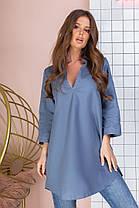 Удлинённая блуза-туника женская из хлопка с рубашечным воротником и рукавом три четверти (50-60), фото 2