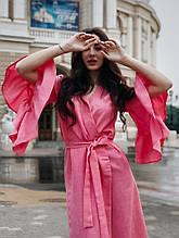 """Платье в стиле """"халат"""",на запах с воланами на рукавах"""