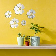 Набор акриловых зеркал цветков ромашки «Flowers» 5 шт. серебро