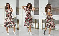 Повседневное свободное платье , на талии вшита резинка + отдельно поясок, с карманами  (42-48)