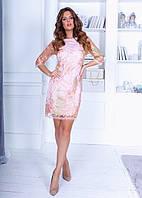 Коктейльное платье из трикотажа с ажурным кружевом, рукав три четверти (42-46) Персиковый