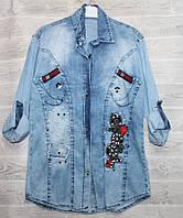 """Рубашка джинсовая на пуговицах с бусинами на девочку 6-12 лет""""BEAUTIFUL"""" купить недорого от прямого поставщика"""