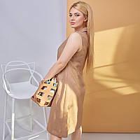 Стильное женское льняное платье-сарафан на пуговицах с двумя накладными карманами(48-58) Треугольный, Приталенное, бежевый, нет, нет