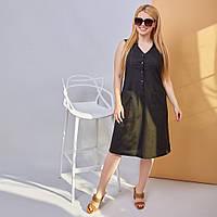 Стильное женское льняное платье-сарафан на пуговицах с двумя накладными карманами(48-58) Треугольный, Приталенное, черный, нет, нет