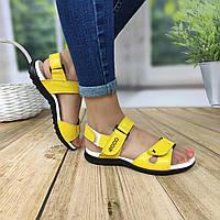 Желтые кожаные босоножки на липучке, фото 1