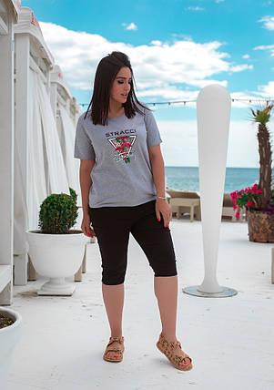 Женская футболка с хлопка в принт фламинго (48-64), фото 2