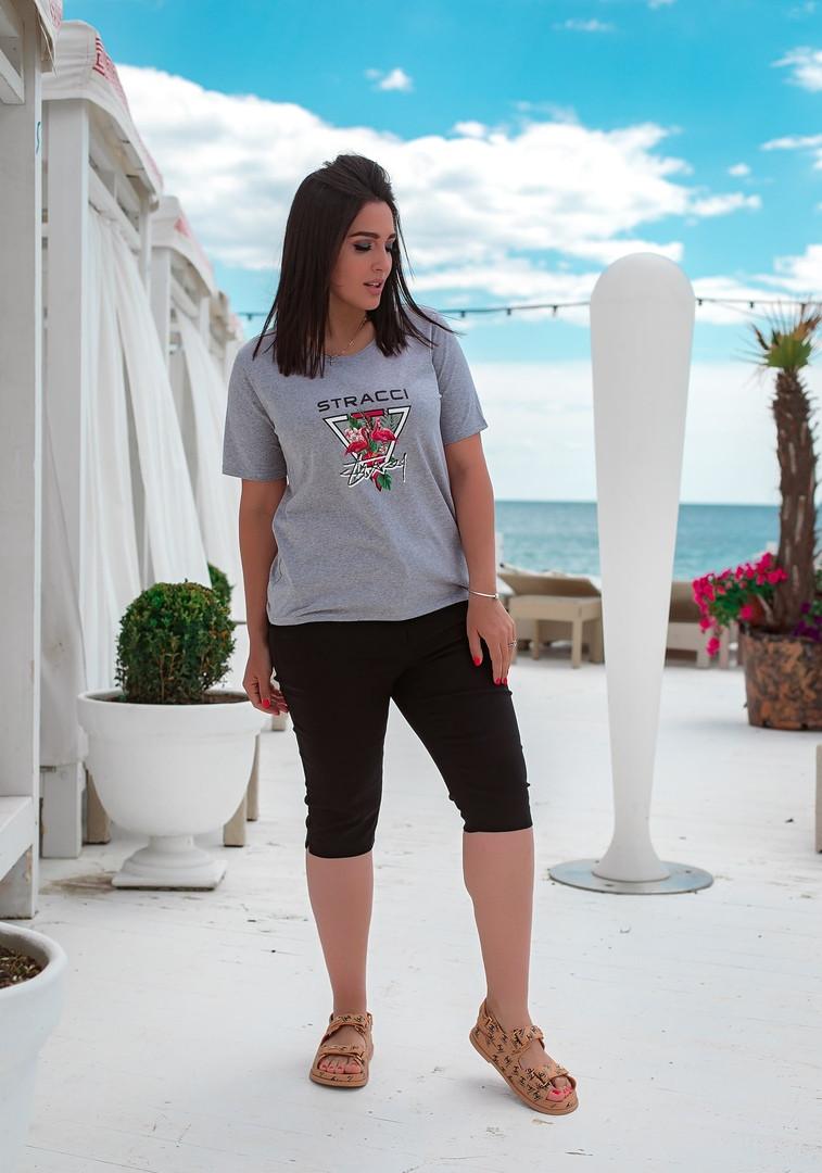 Женская футболка с хлопка в принт фламинго (48-64)