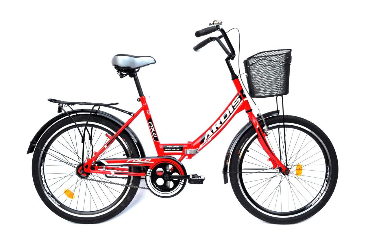 """Складной велосипед ARDIS """"FOLD"""" 24"""" с корзиной и багажником, Красный"""