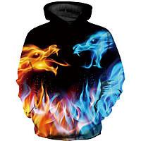 Подростковая толстовка 3D Лед и пламень XXL Разноцветная 607107321391, КОД: 1716920