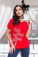 Качественная летняя женская футболка из хлопка размер 48-54 арт 508