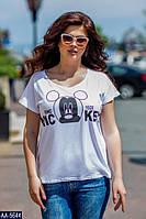Стильные летние женские футболки с разными рисунками размер 48-54 арт 032