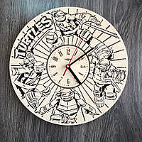 Круглые оригинальные настенные часы 7Arts из дерева Черепашки-ниндзя CL-0269, КОД: 1474430