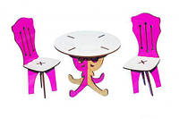 Круглый стол + 2 стула Toysi Бело-розовый TOY-48663, КОД: 1279458