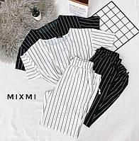 Костюм женский топ и штаны в полоску чёрный, белый 42-44,44-46