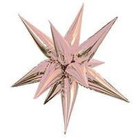 """24"""" (65 см) 3D Звезда (ежик) розовое золото 12 лепестков Китай шар фольгированный"""