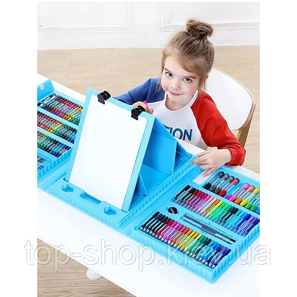 """Набор для рисования с мольбертом в чемоданчике """"Чемодан творчества 208 предметов"""" Голубой (детский)"""