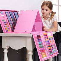 Художественный набор с мольбертом для творчества и рисования в чемоданчике для детей 208 предметов