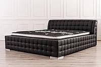 Кожаная двуспальная кровать Sonata Mobel B219 Черная, КОД: 1563942