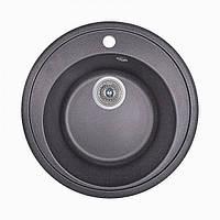 Кухонная круглая гранитная мойка Aqua + сифон ( черная ) диаметр 500