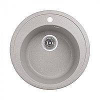 Кухонная круглая гранитная мойка Aqua + сифон ( серая ) диаметр 500