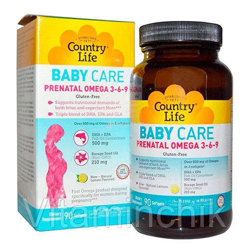 Витамины для беременных Пренатал омега 3-6-9 капсулы №90 ТМ Кантри Лайф / Country Life