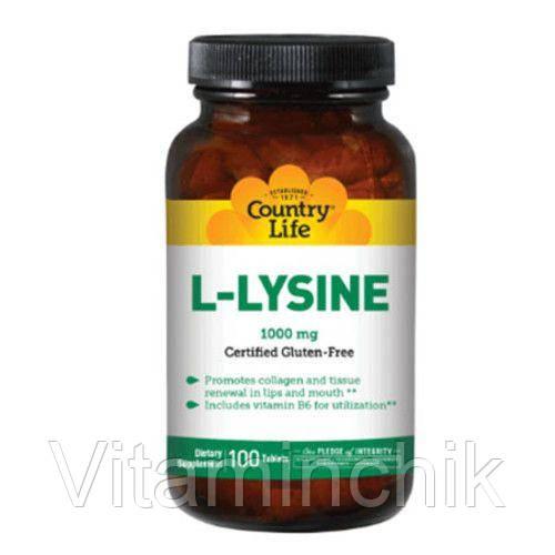 L-лизин 1000 мг 100 таблеток ТМ Кантри Лайф / Country Life