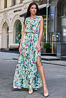 Летнее длинное платье на запах с цветочным принтом цвет: бирюзовый, размер: S, M, L, XL