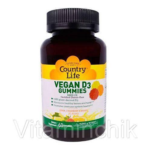 Витамин D3 1000 МЕ 60 жевательных пастилок ТМ Кантри Лайф / Country Life
