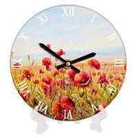 Часы настенные круглые Маковое поле, 18 см