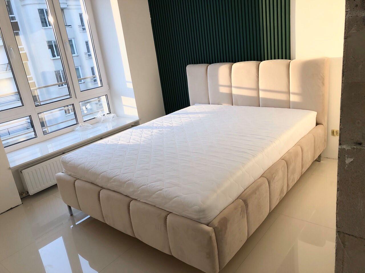 М'яке ліжко двоспальне Брідж(беж) з підйомним механізмом 180х200