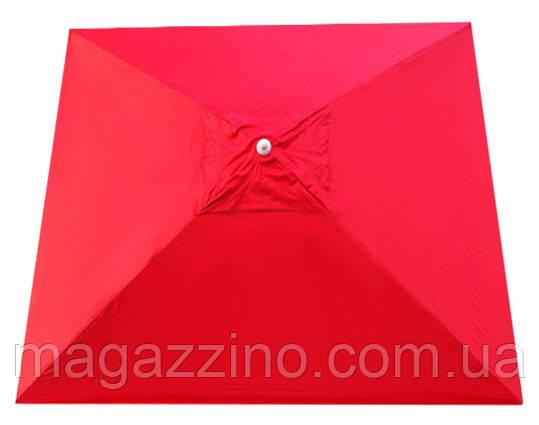 Зонт квадратный с ветровым клапаном, Красный, 3 х 3 м.