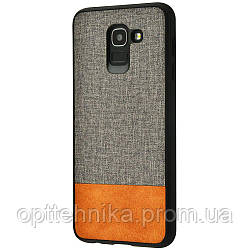 Hard Textile Case Samsung Galaxy A6 2018 (A600F) gray_brown