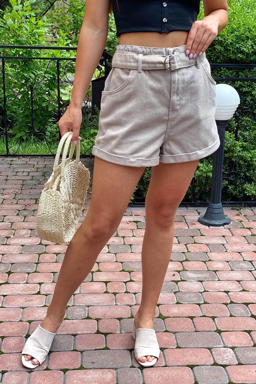 Шорты женские короткие с высокой талией  Busem - бежевый цвет, 42р (есть размеры)