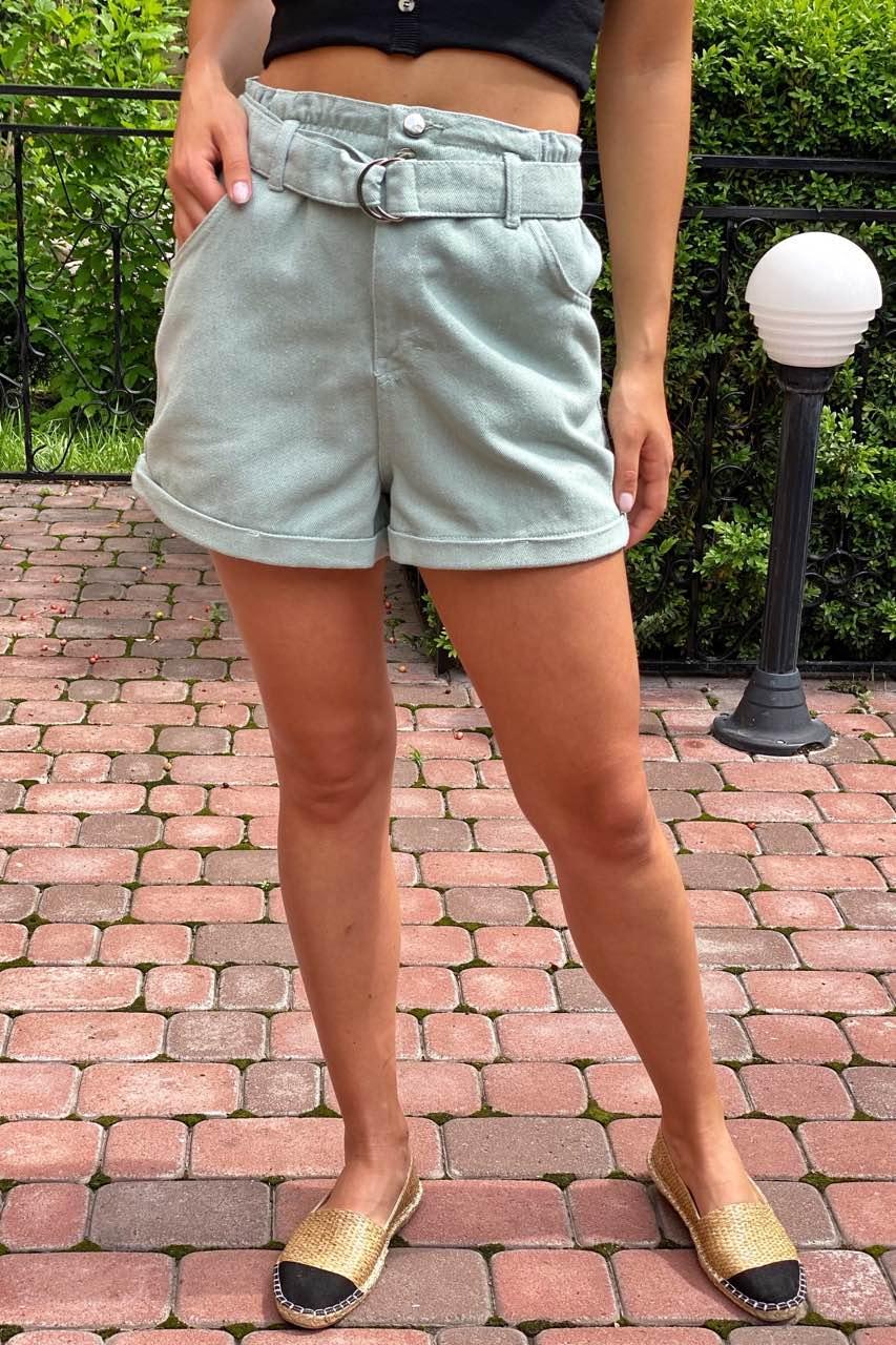 Шорты женские короткие с высокой талией  Busem - мятный цвет, 38р (есть размеры)