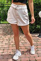 Шорты женские короткие с высокой талией  Busem - молочный цвет, 38р (есть размеры)