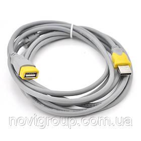 Подовжувач USB 2.0 V-Link AM / AF, 5.0m, 1 ферит, Grey / Yellow