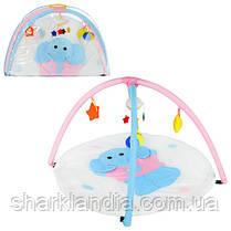 Коврик для младенца W8311 слоник, кругл.85см, дуги 2шт, подвески-плюш 5шт, в сумке, 81-56-6см