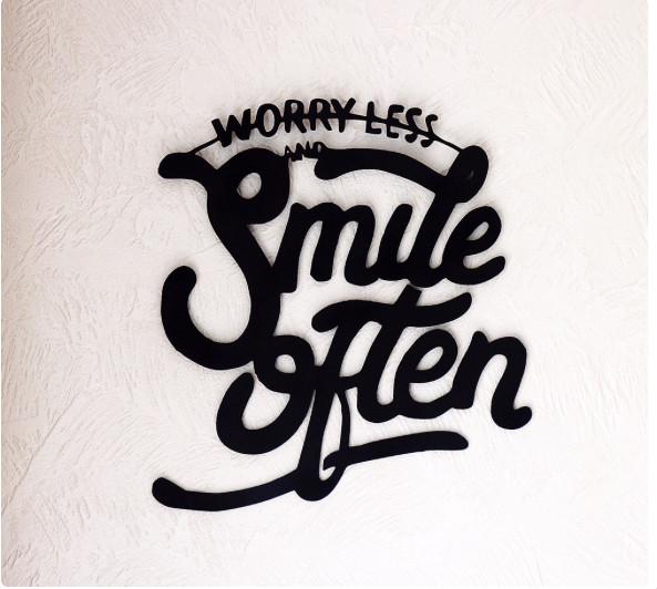 """Геометрический декор """"Smile often"""" дерево 50 cм черный"""