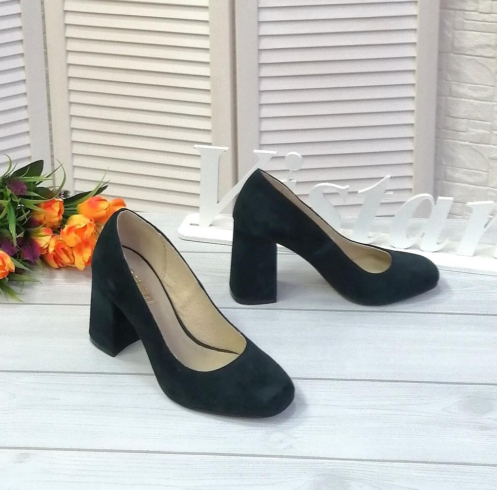 Зеленые замшевые туфли лодочки