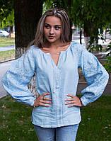 """Вишиванка жіноча блакитна лляна вишита низинкою """"Чернігівська"""", фото 1"""