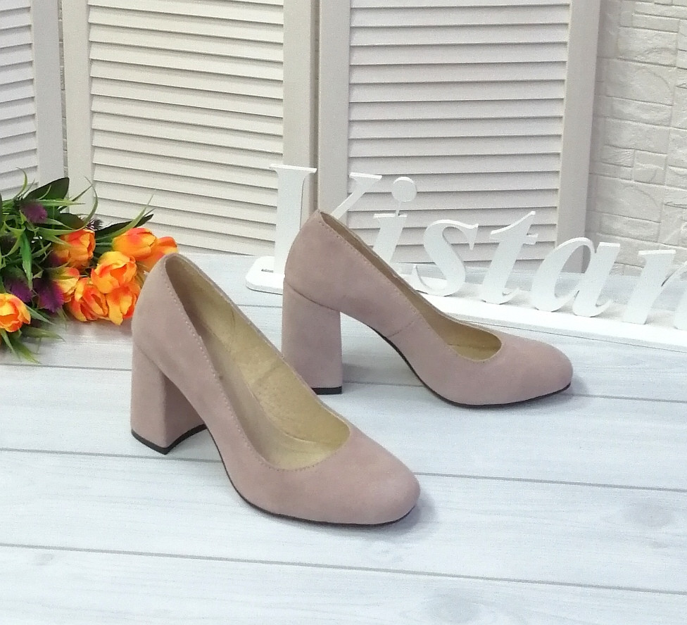Лиловые замшевые туфли лодочки