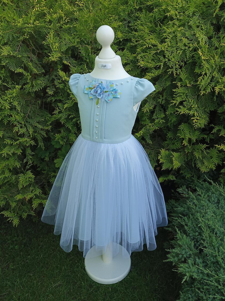 Р 116, детское нарядное платье голубого цвета