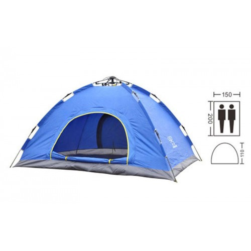 Палатка-автомат с автоматическим каркасом 2-х местная (синий) размер  200х150х125