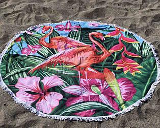 Пляжное покрывало с ярким принтом  Bright flamingo