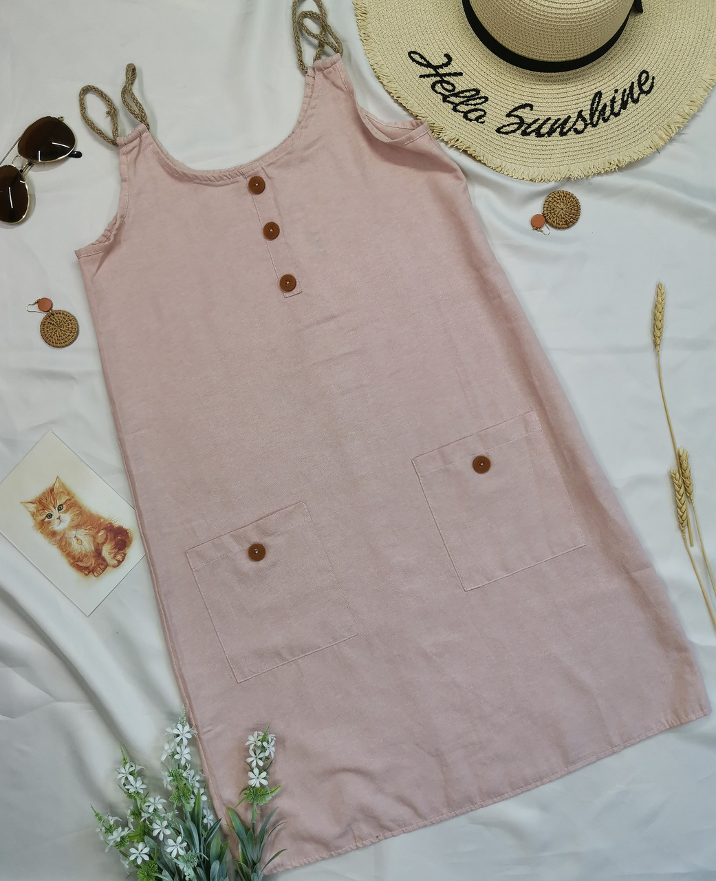 Розовый женский сарафан короткий с карманами