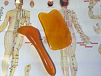 Набор скребков гуаша (пластик) + карта с точками для массажа