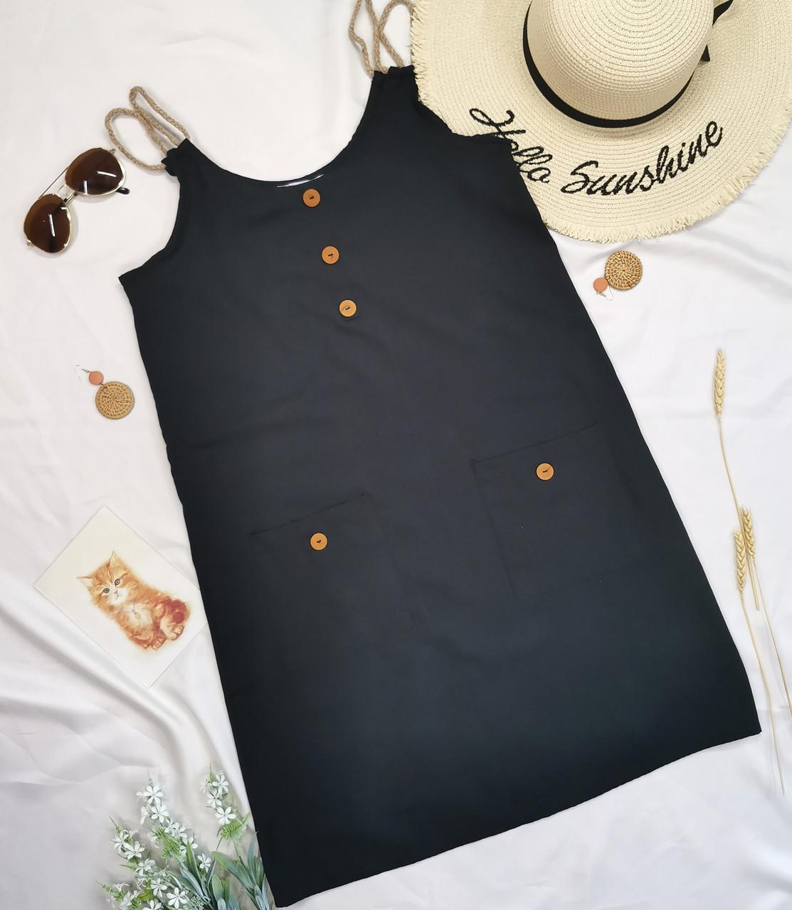 Чорний жіночий сарафан короткий з кишенями