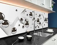 Кухонный фартук серебристые шары 3D, абстракция, волны и шары, железные сферы Самоклейка 60 х 250 см